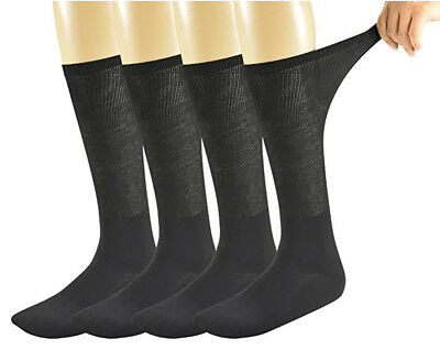 Mens Bamboo Diabetic Over The Calf Socks,4 Pairs Black, Size 10-13, WM01
