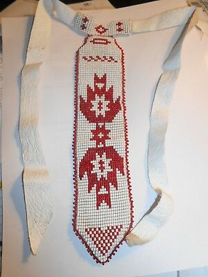"VINTAGE NATIVE AMERICAN INDIAN BEADED 30"" SASH Old  Hand made Red & White Beads"