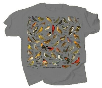 Ultimate Songbird Guide Adult T-shirt S M L XL XXL Gravel Color 50+ Species Bird