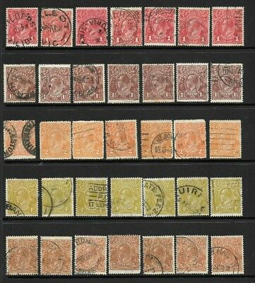 Bulk Australia Pre-Decimal KGV Heads, 1d Red to 5d Brown x 35 , good/ fine used
