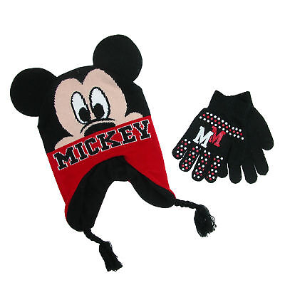 New Disney Boy's Mickey Mouse Hat and Gloves Winter Set