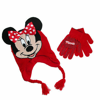 New Disney Girl's Minnie Mouse Hat and Gloves Winter Set