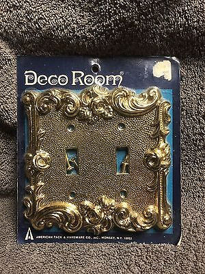 Vintage 1967 American Tack & Hardware 60TT Double Switch Cover Brass Rose