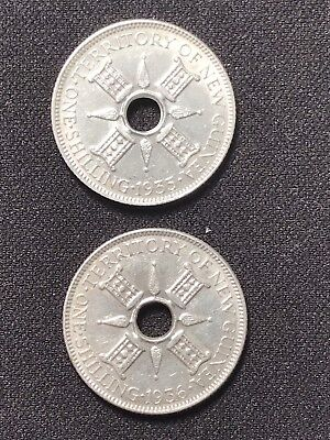 2 x ONE SHILLING 1935 & 1936 NEW GUINEA 92.5 % SILVER 10.7 Gram.High Grade Coins