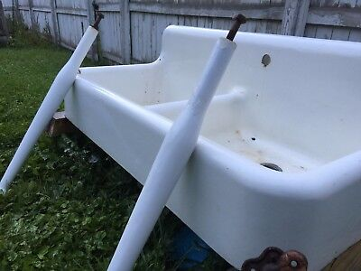 1935 Antique Vintage Farmhouse Kitchen Laundry Farm Sink & Legs - NEAR PERFECT!