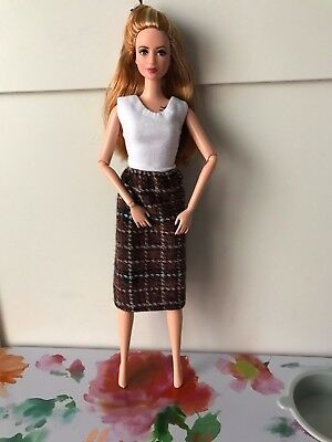 Super Chic, Brown Plaid OOAK Pencil Skirt for Barbie or Similar dolls