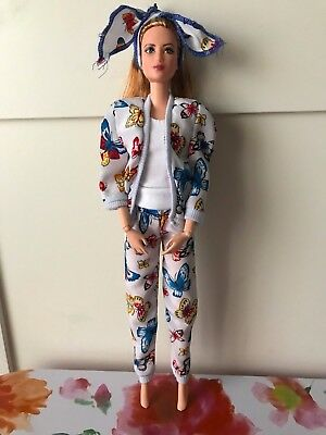 Adorable, Vintage 1980's Three Piece Silk Butterfly Suit For Barbie or Similar