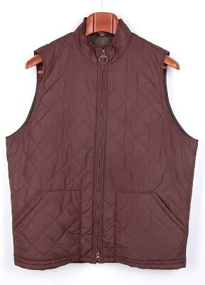 Classic Mens BARBOUR Bosun Gilet Solid Brown Quilted VEST Size XL Zip Front