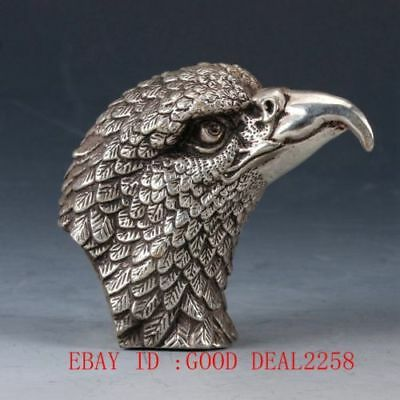 Old-China Silve-copper Handmade Carved Eagle Head Statue