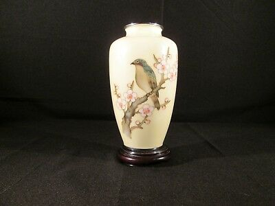 Japanese Pale Yellow Cloisonne Vase with Floral and Bird Design