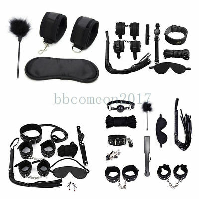 Bondage Rope Set Collar Whip Hand Cuffs Ankle Cuff Eye Mask Black Restraints SM