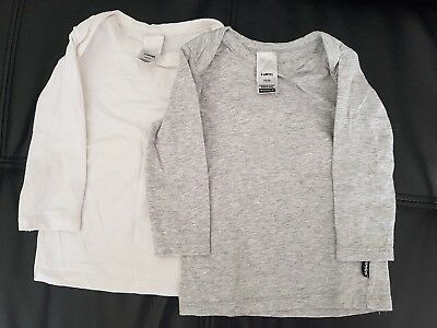 BONDS Baby 2 Pack Stretchies Long Sleeve Tee White Grey Marle Size 00 3-6mths