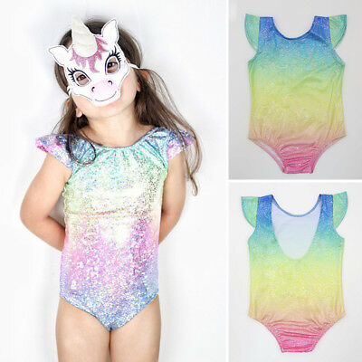 Baby Girl Unicorn Dance One-piece Bodysuit Kid Dancewear Leotard Clothes Costume