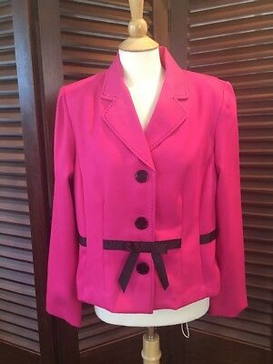 Women's Pink & Black Three Button Blazer Bow Ribbon Accent Size 12 Career