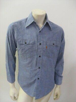 Vintage Levi's Chambray Long Sleeve Shirt Orange Tab Size MEDIUM