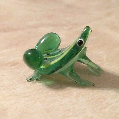 Blown Glass Green Frog Decorative Collectible Figurine
