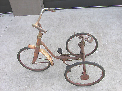 Vintage Tricycle Solid Rubber Tyres Chain Driven ~ Ideal Man Cave
