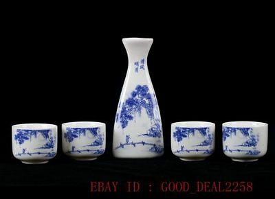 Chinese Blue And White Porcelain Hand Painted Tree&People Cup Set ZJ01