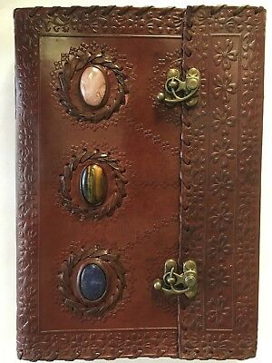 Hand Made Leather Bound Book/Journal Natural Recycled Paper-3 Stones -25 x 18 cm