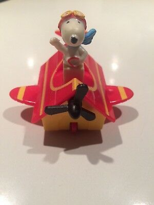 Vintage 1966 Snoopy Pilot Red Baron Doghouse Plane Peanuts Rare Pullback Toy Car