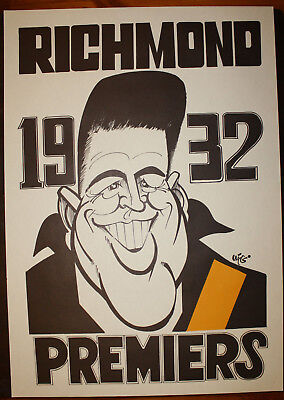 1932 Richmond Premiers Weg poster Percy Bentley Tigers Premiership