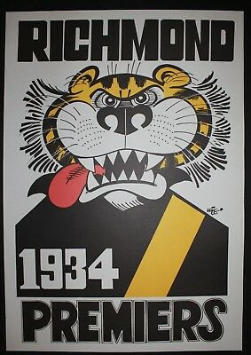1934 Richmond Premiers Weg poster Tigers Premiership