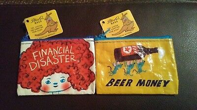 Lot of 2 Blue Q small coin purses. Beer Money & Financial Disaster. Brand New