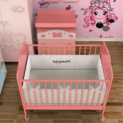 9.8'' White Breathable Infant Baby Bed Mesh Bumper Crib Liner Protection Pad