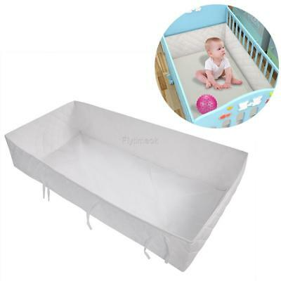 Breathable Mesh Bumper Crib Liner Baby Bedding Washable Hypoallergenic White