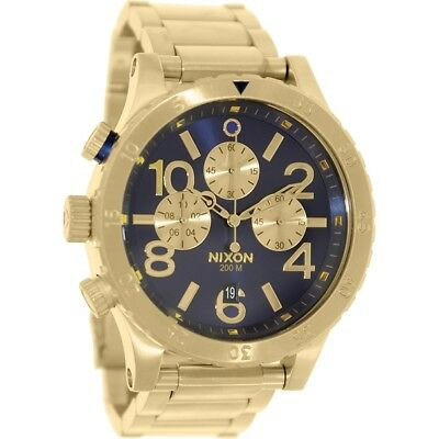 New Authentic w/Box NIXON Men Watch 48-20 Chronograph Gold/Blue Sunray A486-1922