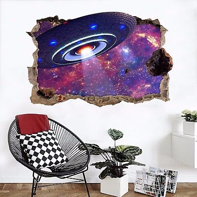 3D Stars Sky UFO 27 Wall Murals Wall Stickers Decal Breakthrough AJ WALLPAPER AU