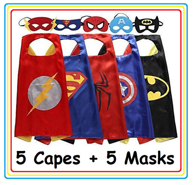 New Kids Superhero Five Cape & Mask Costume Set For Birthday and Party Favors