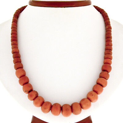 """Vintage 19"""" GIA Graduated Natural Coral Bead Strand Necklace w/ 10K Gold Clasp"""