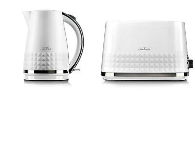 Sunbeam KE1900W TA1900W Diamond Collection Kettle Toaster Pack - White