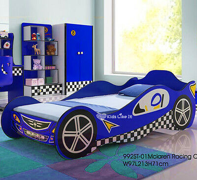 NEW KIDS BOYS SPORTS RACING CAR Single BED Childrens BEDROOM Furniture BLUE