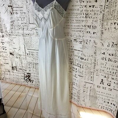 Vintage Barbizon Nightgown Nylon Satin Ivory Lace Long Floral Embroidered Size S