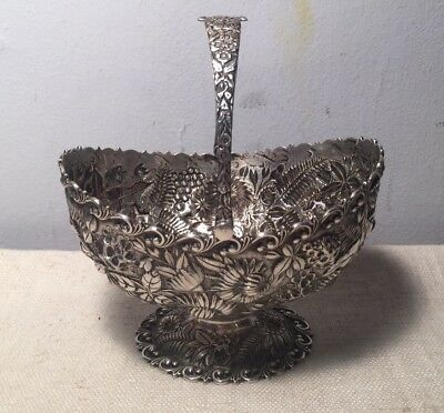 S Kirk & Son Antique Sterling Silver Floral Repousse Sugar Basket