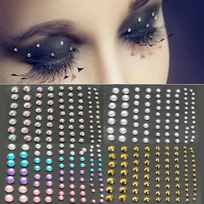 DIY Mixed 3D Tattoo Diamond Glitter Eye Nail Art Jewelry Makeup Crystal Sticker