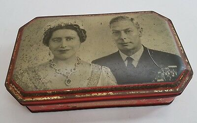 Royal visit 1949 to Australia. King George 6 and Queen Elizabeth toffee tin.