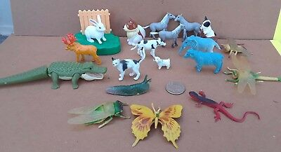 19 animal lot, dogs, cat, insects, moose, horses, crocodile, slug, bunny, cow