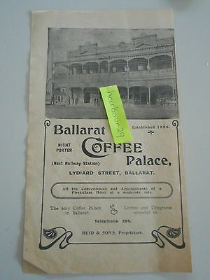 1912 orig paper advertisement for Ballarat Coffee Palace with photo Reid & sons