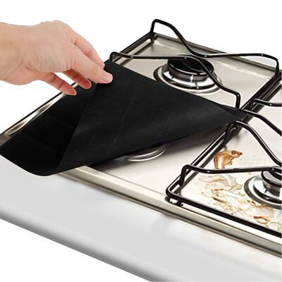 4PCS Reusable Gas Range Stove Top Burner Protector Liner Cover Tool For Cleaning