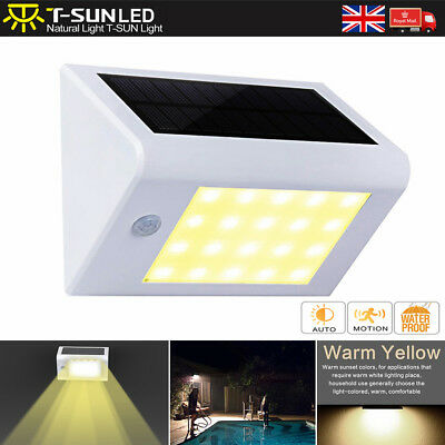 Solar Powered Motion Sensor LED Wall Light Spotlight Security Lamp Garden 3000K