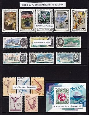 Russia 1979 Sets and Minisheet MNH - Flowers, Olympics, Ships, Transport