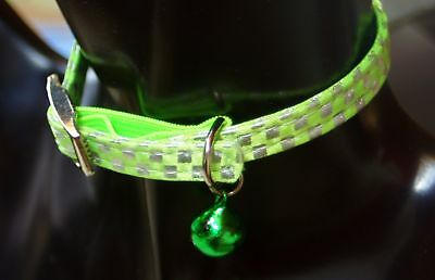 Lime Green and Silver SOFT CHEQUERED kitten or cat safety COLLAR with elastic