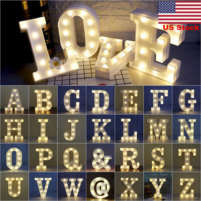 Us Warm Glow Plastic Light Up Letter Wedding Alphabet Vintage Sign Box Home Lamp