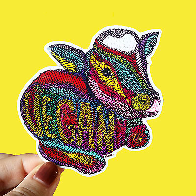 Vinyl Sticker Vegan Waterproof Cow Sticker Decal Laptop Skateboard Sticker