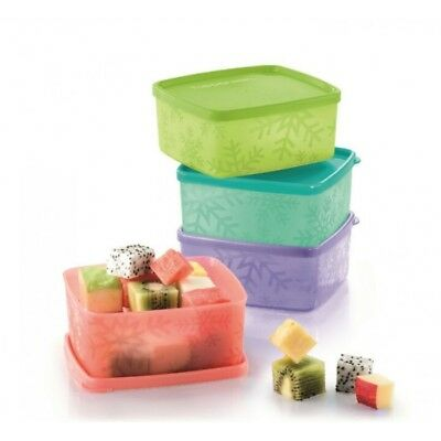 4 Tupperware Snowflake Square Round 400ml Fridge Freeze It Airtight Container