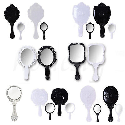 1PC Woman Girl Retro Style Floral Hand Held Mirror Makeup Dresser Beauty Gift