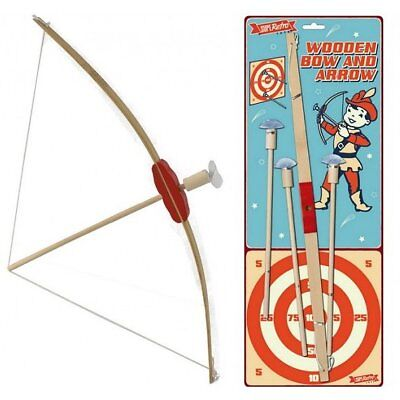 52cm Wooden Bow and Arrow Toy Play Set with Card Target - Childrens Gift Idea